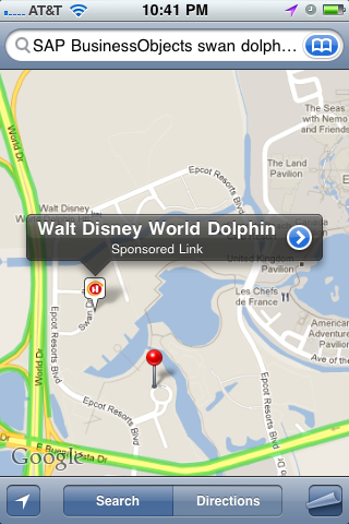 iPhone Map Walt Disney World SBOUC