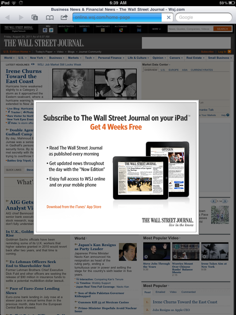 WSJ Mobile Pay Wall