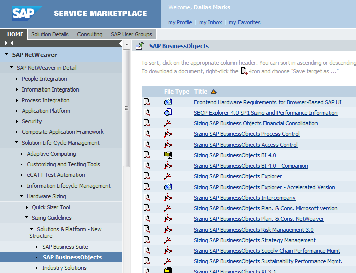 Sizing in the SAP Service Marketplace