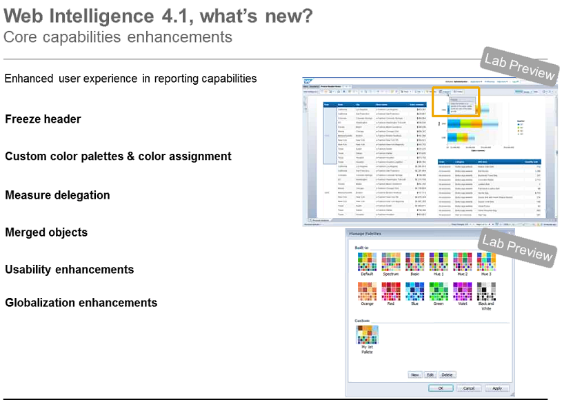 Web Intelligence 4.1 New Features Summary