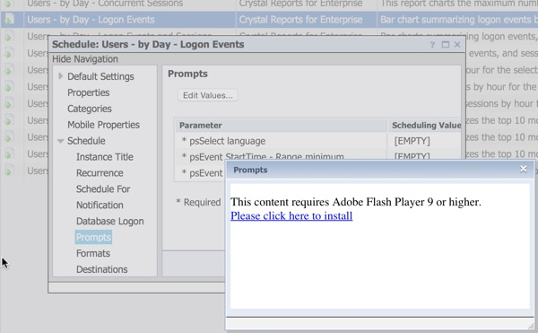 Crystal Reports for Enterprise Prompts with Adobe Flash