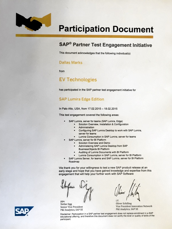 SAP Partner Test 03 Participation Document