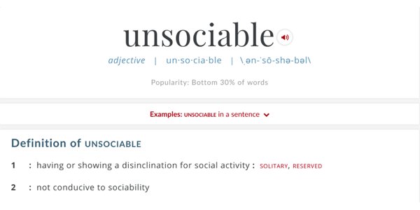 Unsociable definition from Merriam-Webster dictionary