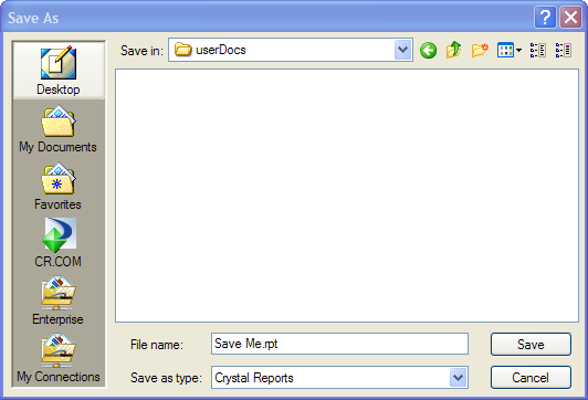 Crystal Reports 2008 Save Me
